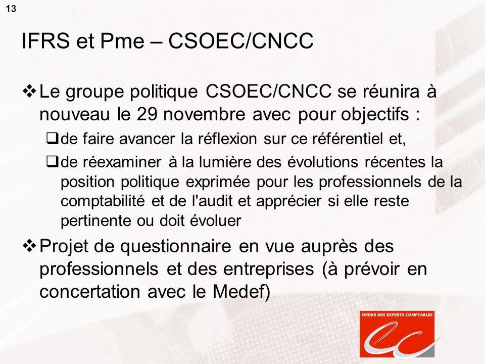 IFRS et Pme – CSOEC/CNCC