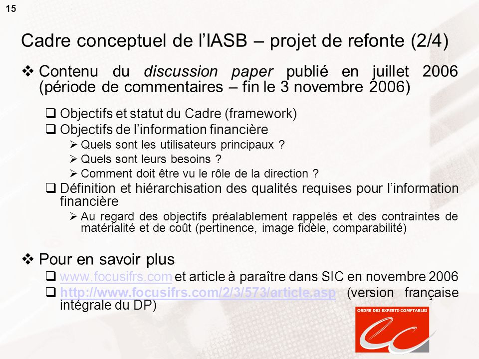 Cadre conceptuel de l'IASB – projet de refonte (2/4)
