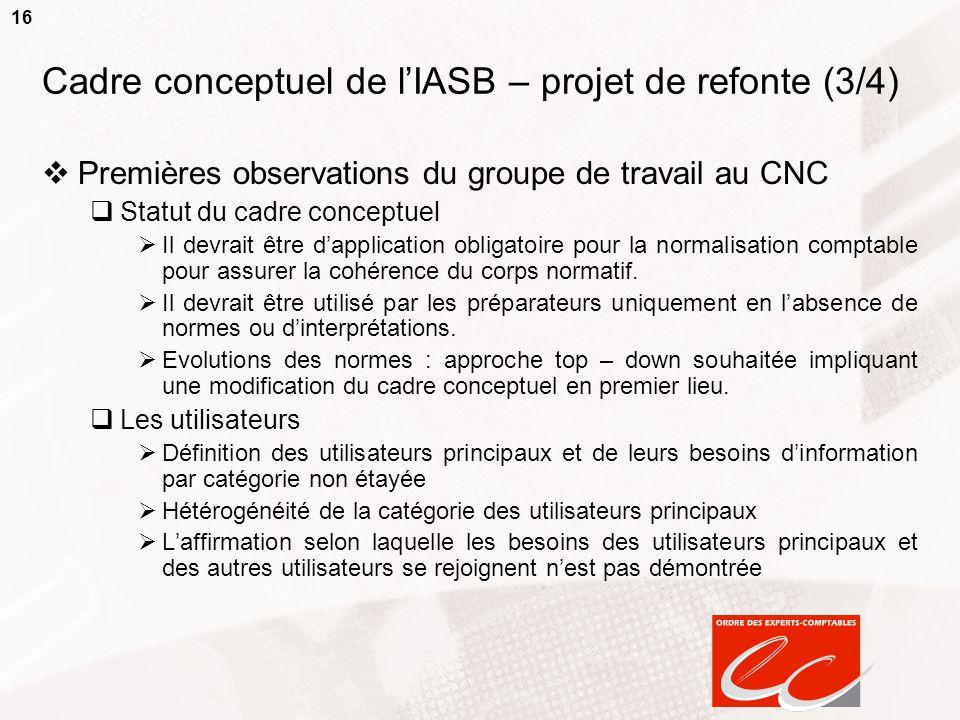 Cadre conceptuel de l'IASB – projet de refonte (3/4)