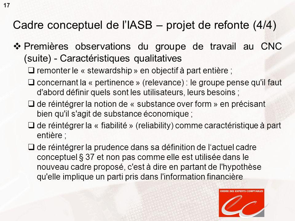 Cadre conceptuel de l'IASB – projet de refonte (4/4)