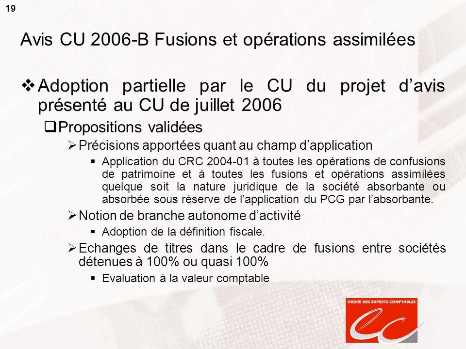 Avis CU 2006-B Fusions et opérations assimilées