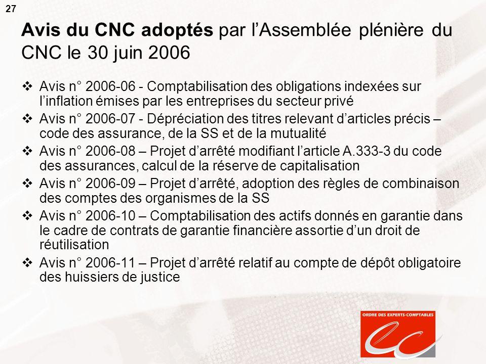 Avis du CNC adoptés par l'Assemblée plénière du CNC le 30 juin 2006