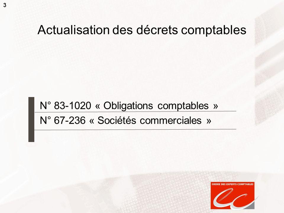 Actualisation des décrets comptables