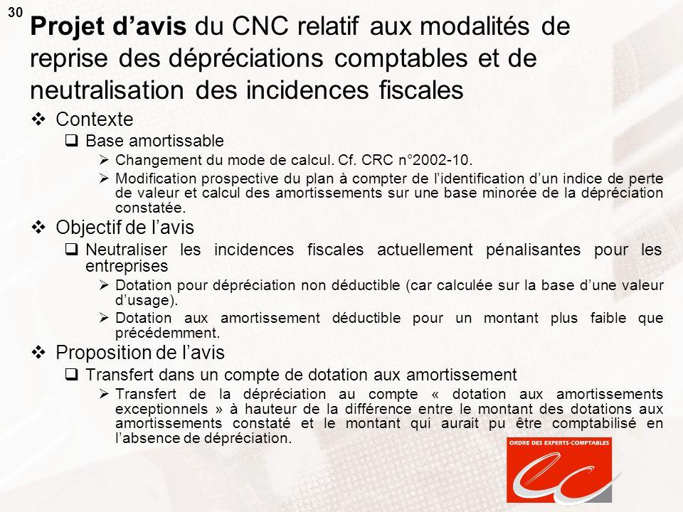 Projet d'avis du CNC relatif aux modalités de reprise des dépréciations comptables et de neutralisation des incidences fiscales