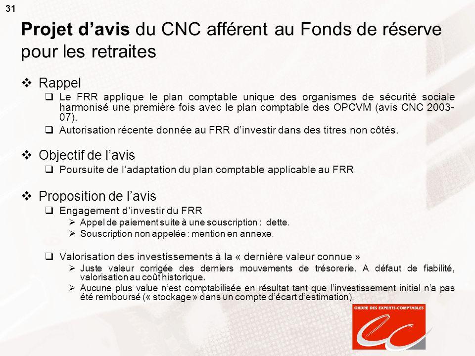 Projet d'avis du CNC afférent au Fonds de réserve pour les retraites