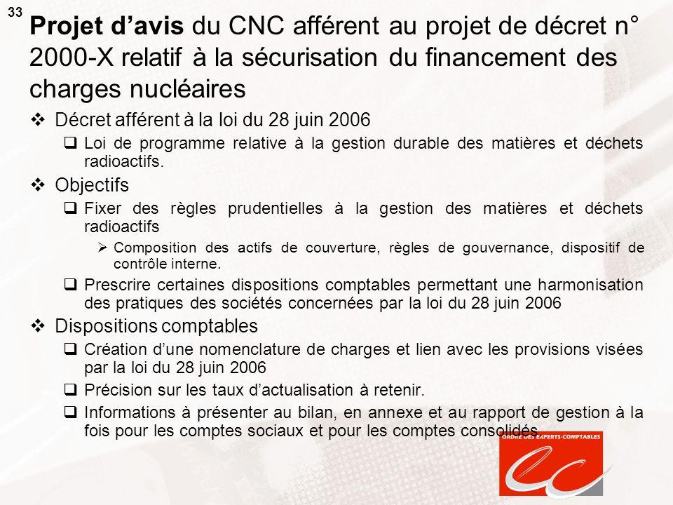 Projet d'avis du CNC afférent au projet de décret n° 2000-X relatif à la sécurisation du financement des charges nucléaires