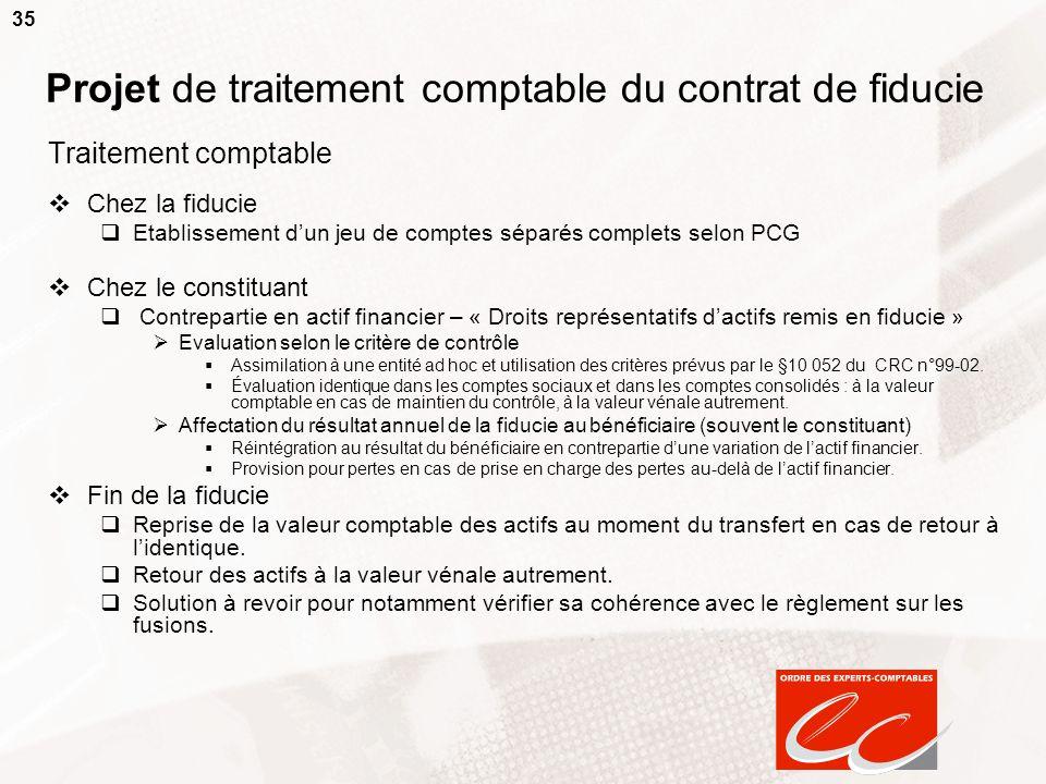 Projet de traitement comptable du contrat de fiducie