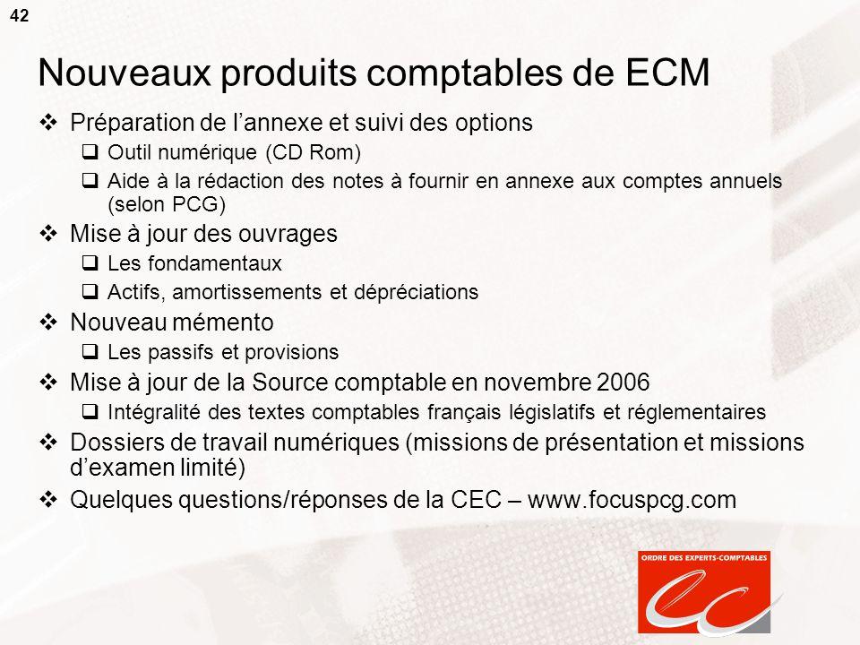 Nouveaux produits comptables de ECM
