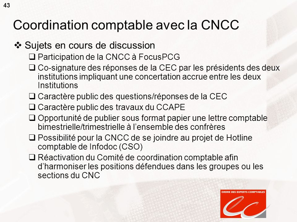 Coordination comptable avec la CNCC