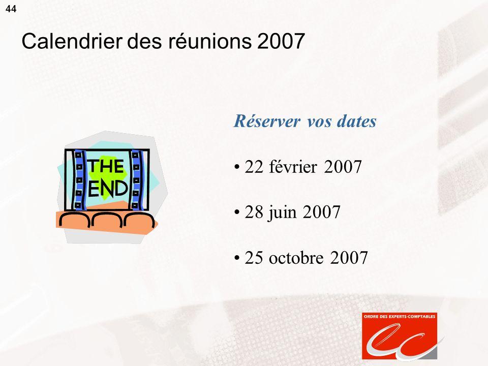 Calendrier des réunions 2007
