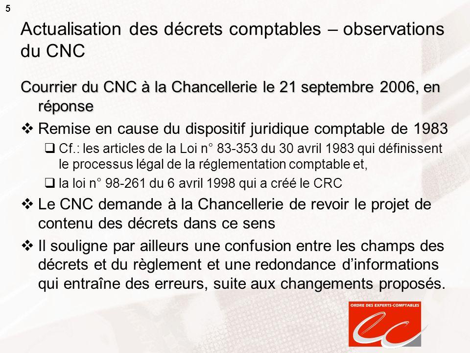 Actualisation des décrets comptables – observations du CNC