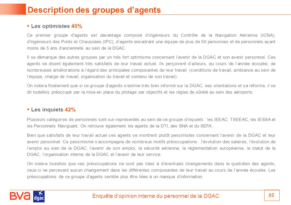 Description des groupes d'agents