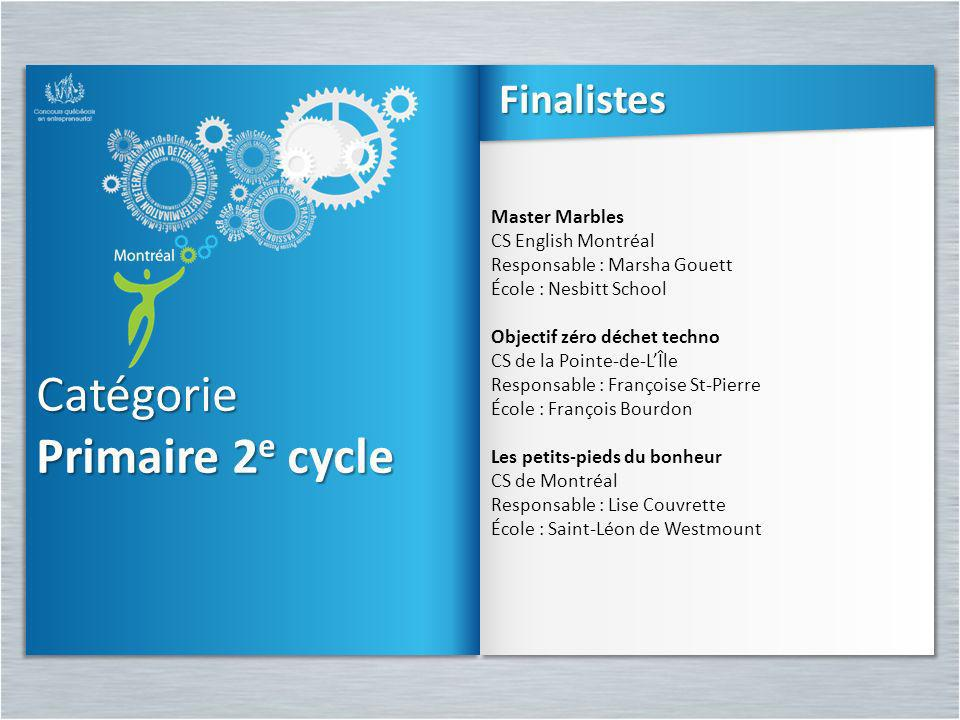 Catégorie Primaire 2e cycle Finalistes Master Marbles