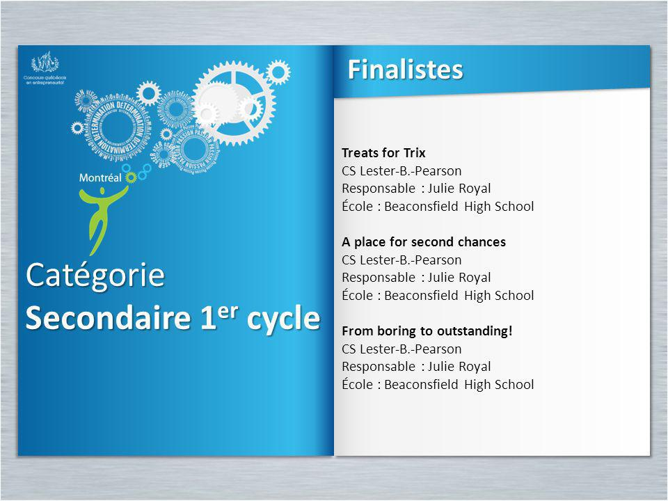 Catégorie Secondaire 1er cycle Finalistes Treats for Trix