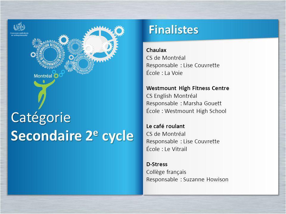 Catégorie Secondaire 2e cycle Finalistes Chaulax CS de Montréal