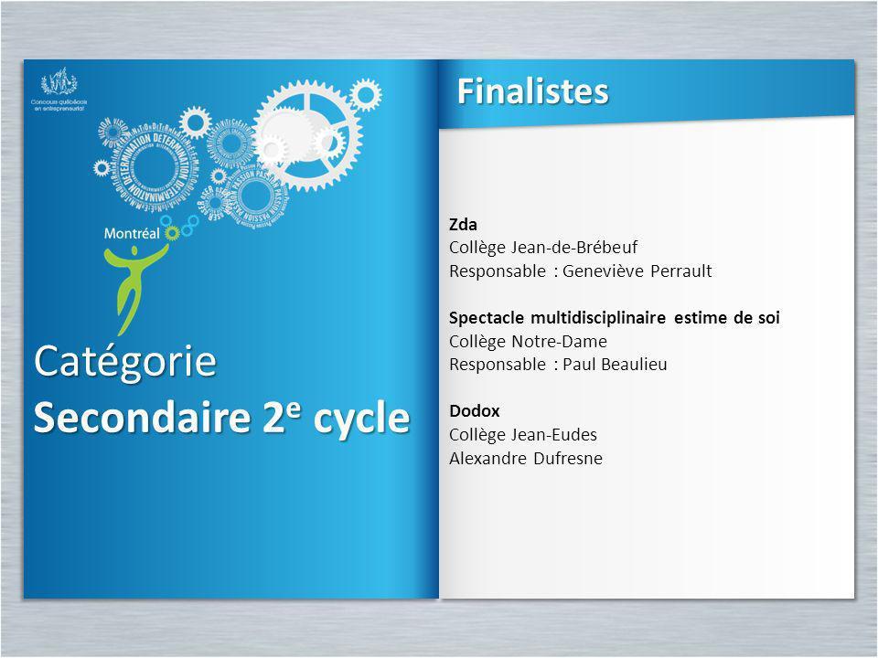 Catégorie Secondaire 2e cycle Finalistes Zda Collège Jean-de-Brébeuf