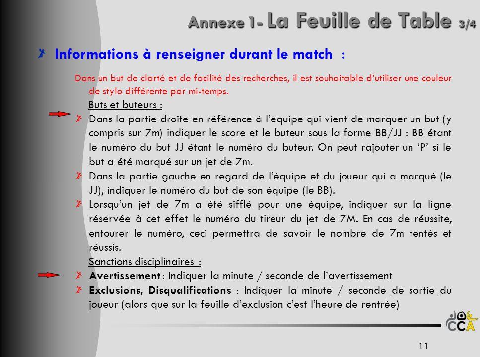 Annexe 1- La Feuille de Table 3/4