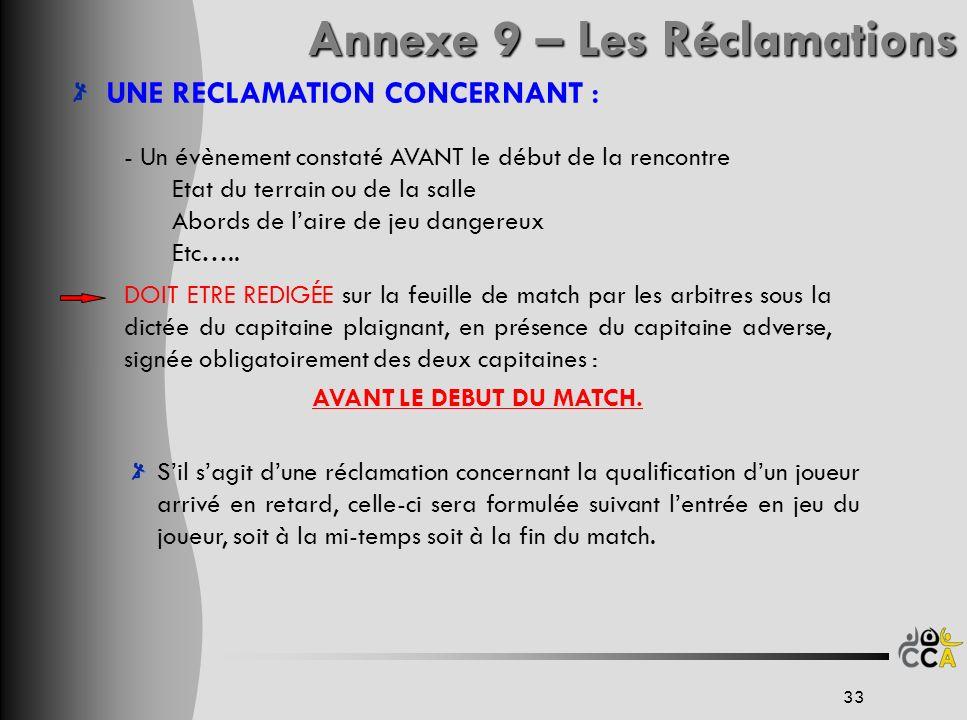 Annexe 9 – Les Réclamations