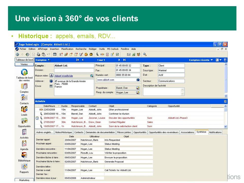 Une vision à 360° de vos clients