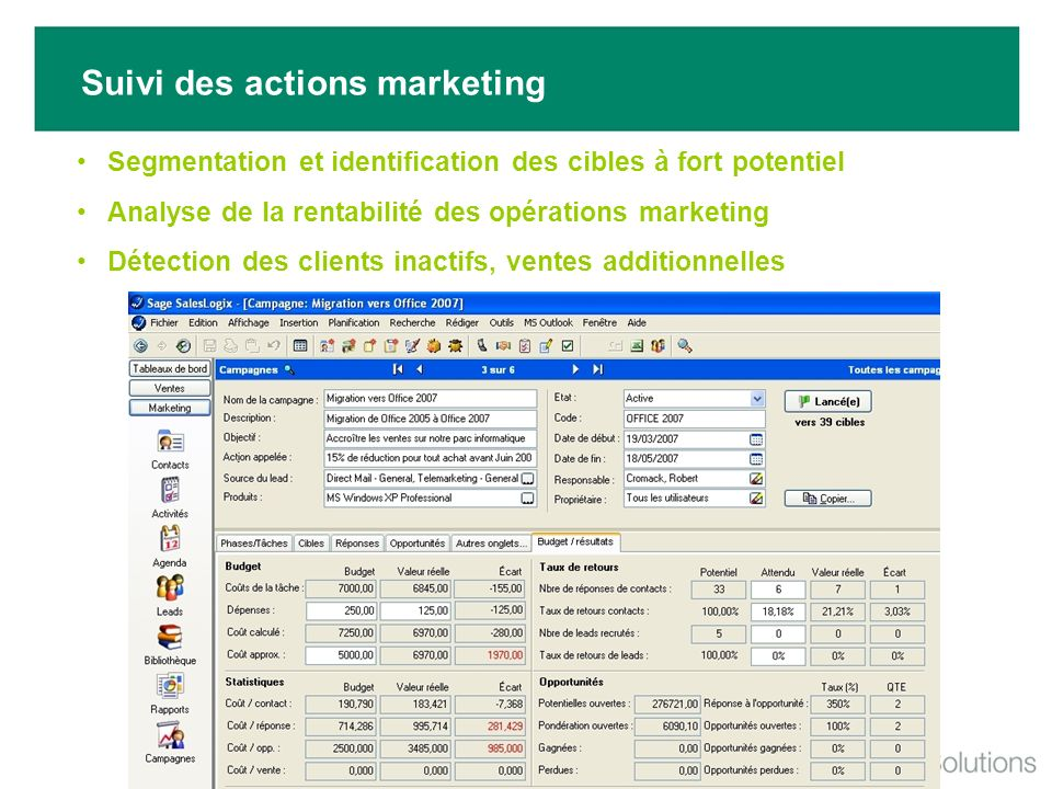 Suivi des actions marketing