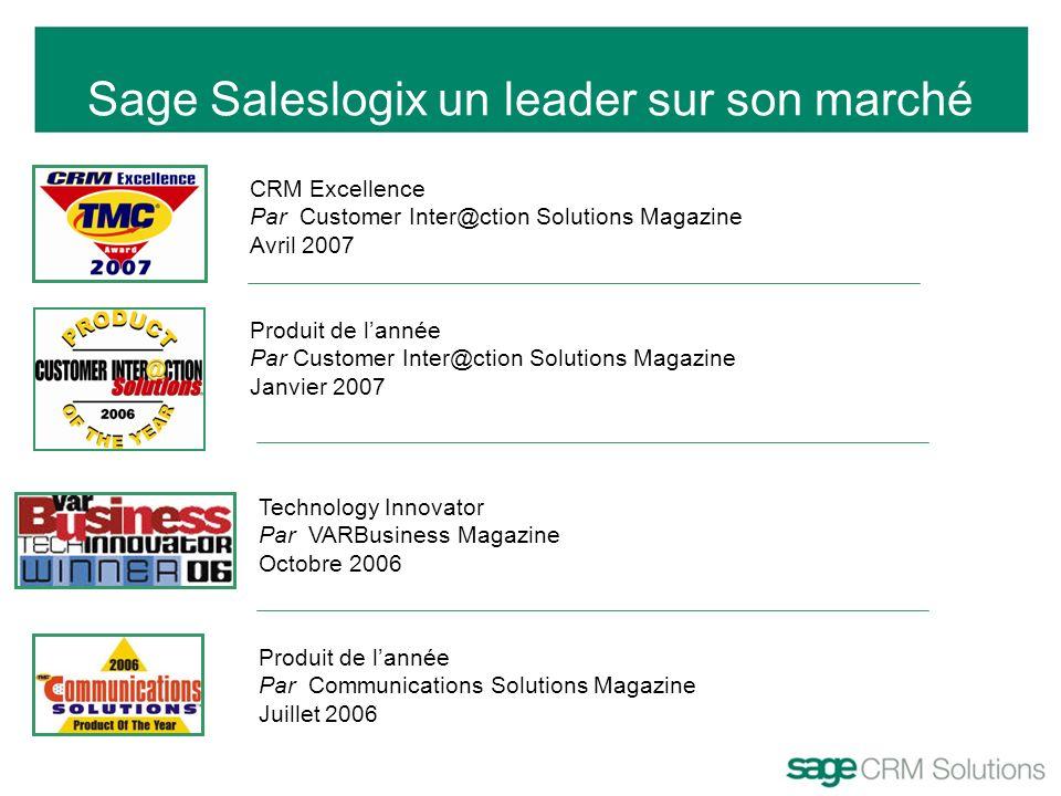 Sage Saleslogix un leader sur son marché