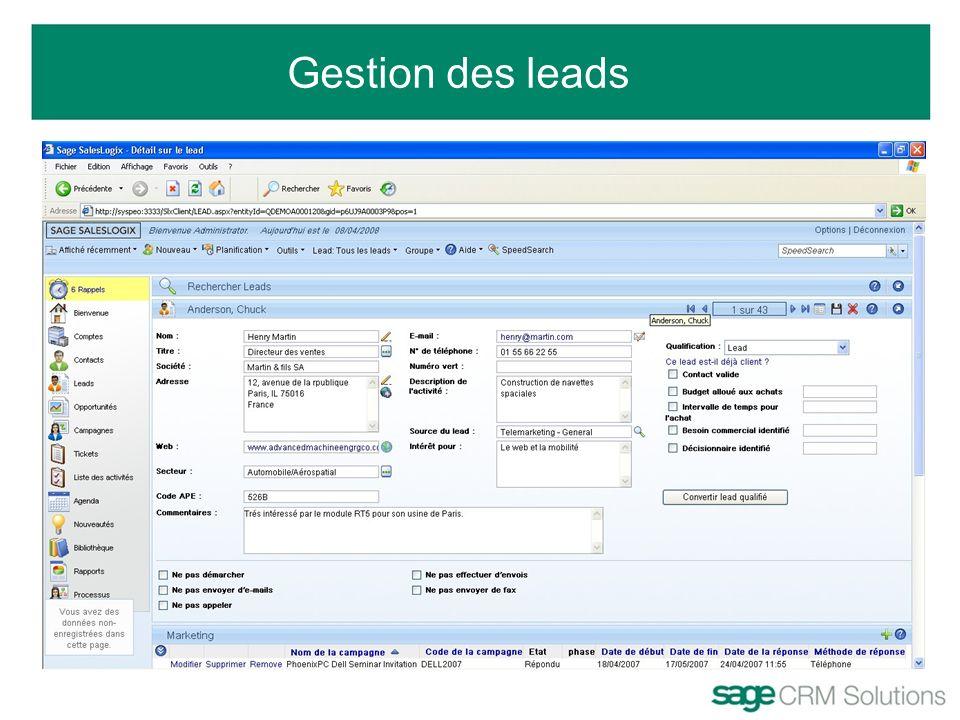 Gestion des leads