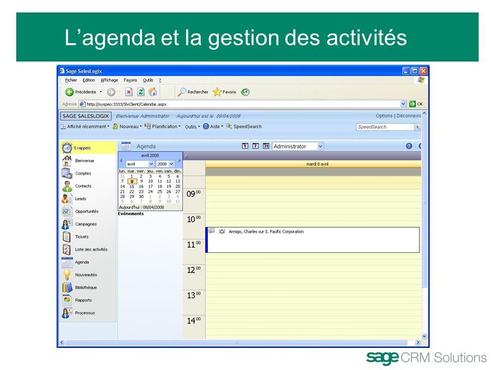 L'agenda et la gestion des activités