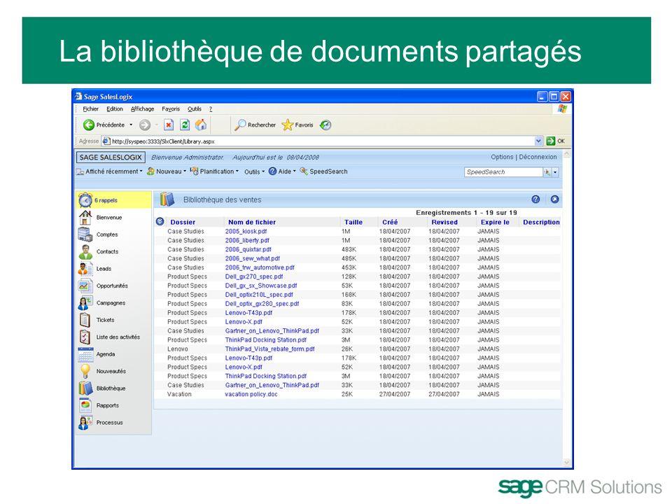 La bibliothèque de documents partagés