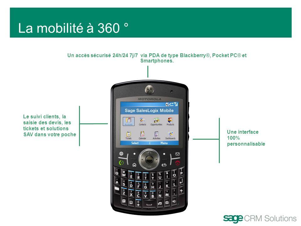La mobilité à 360 ° Un accès sécurisé 24h/24 7j/7 via PDA de type Blackberry®, Pocket PC® et Smartphones.