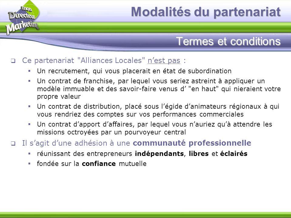 Modalités du partenariat Termes et conditions