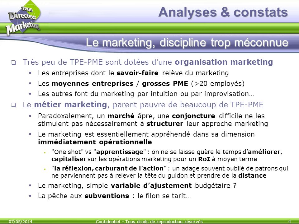 Analyses & constats Le marketing, discipline trop méconnue
