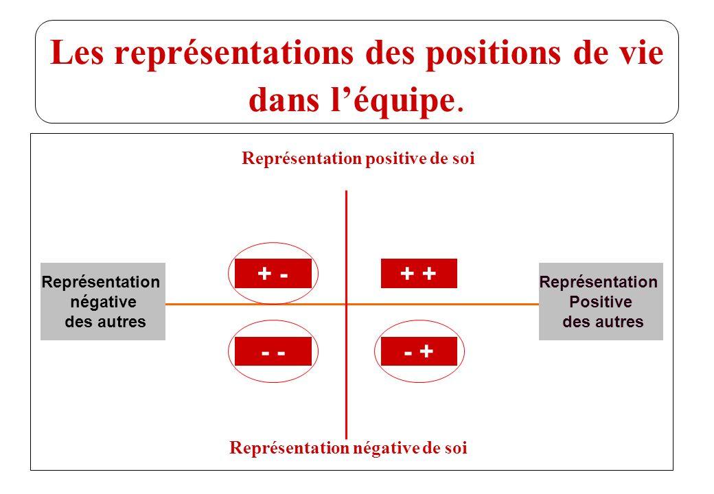 Les représentations des positions de vie dans l'équipe.