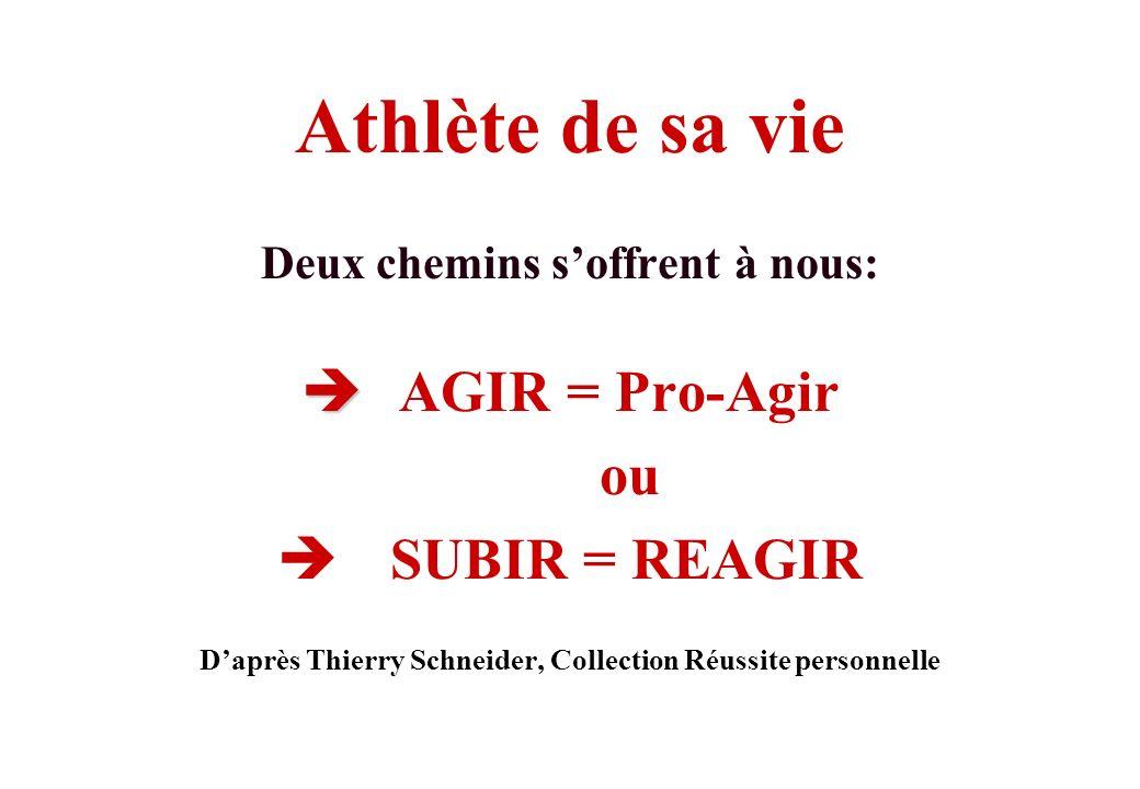 Athlète de sa vie AGIR = Pro-Agir ou SUBIR = REAGIR