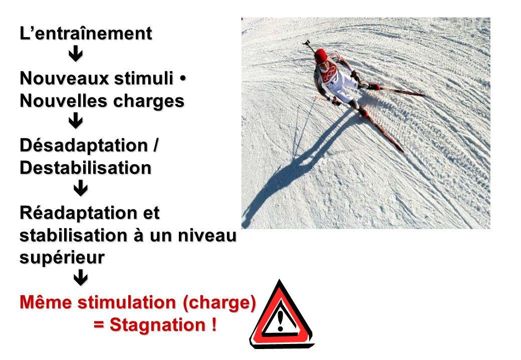 L'entraînement  Nouveaux stimuli • Nouvelles charges. Désadaptation / Destabilisation. Réadaptation et stabilisation à un niveau supérieur.