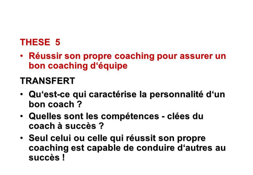 THESE 5 Réussir son propre coaching pour assurer un bon coaching d'équipe. TRANSFERT. Qu'est-ce qui caractérise la personnalité d'un bon coach