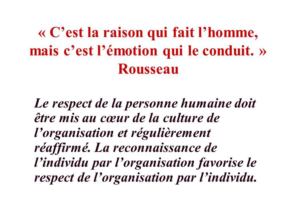 « C'est la raison qui fait l'homme, mais c'est l'émotion qui le conduit. » Rousseau