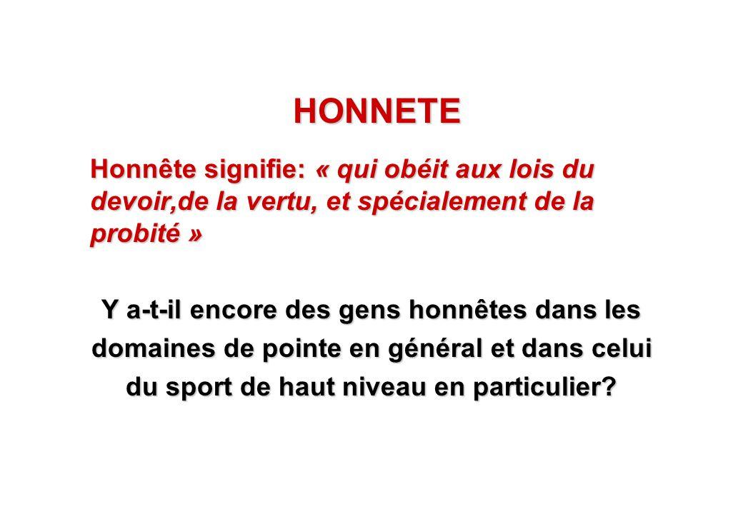 HONNETE Honnête signifie: « qui obéit aux lois du devoir,de la vertu, et spécialement de la probité »