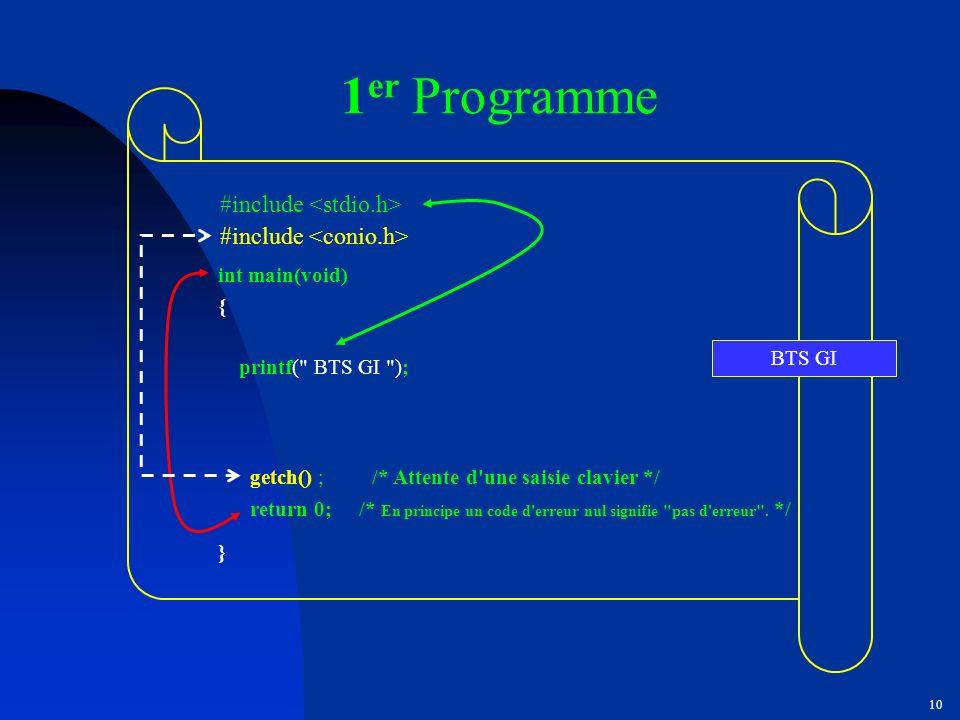 1er Programme #include <stdio.h> #include <conio.h>