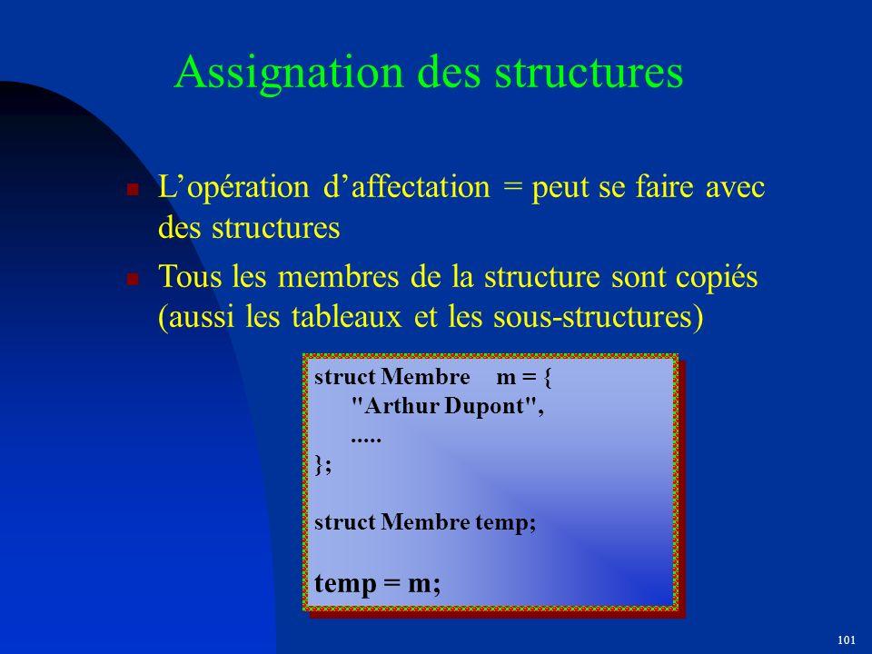 Assignation des structures