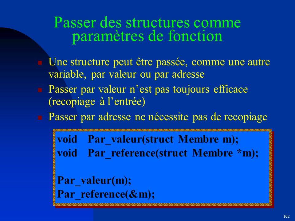 Passer des structures comme paramètres de fonction