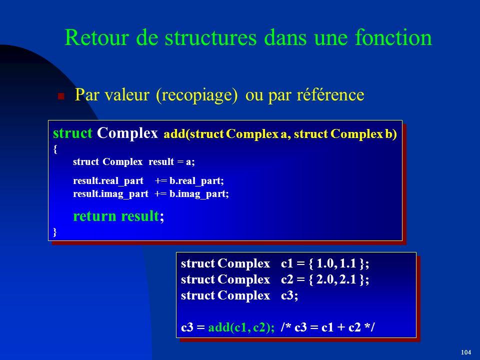 Retour de structures dans une fonction