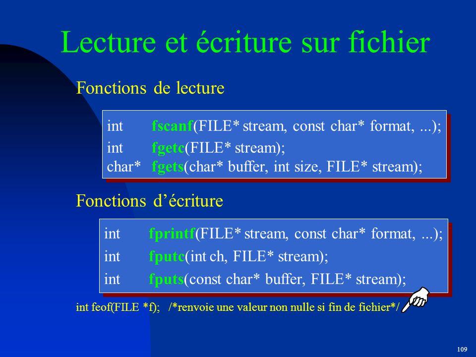 Lecture et écriture sur fichier