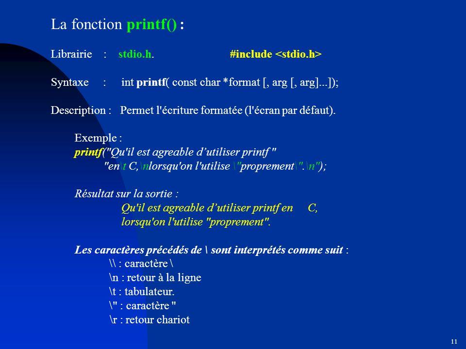 La fonction printf() : Librairie : stdio.h. #include <stdio.h>
