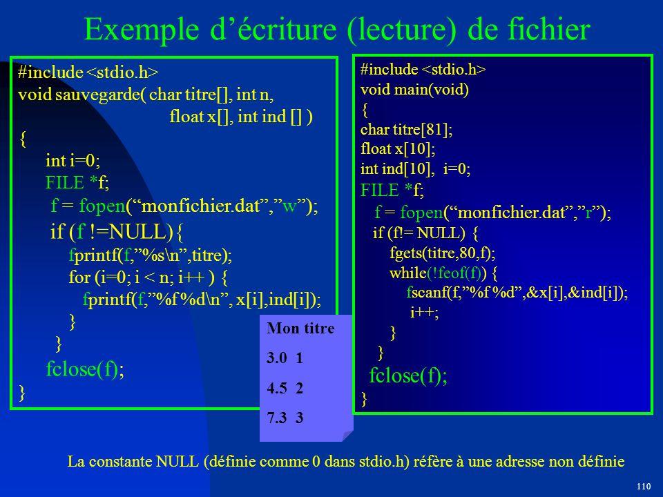 Exemple d'écriture (lecture) de fichier