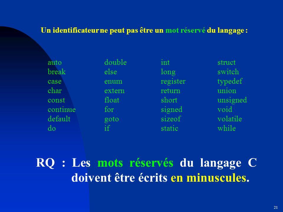 Un identificateur ne peut pas être un mot réservé du langage :