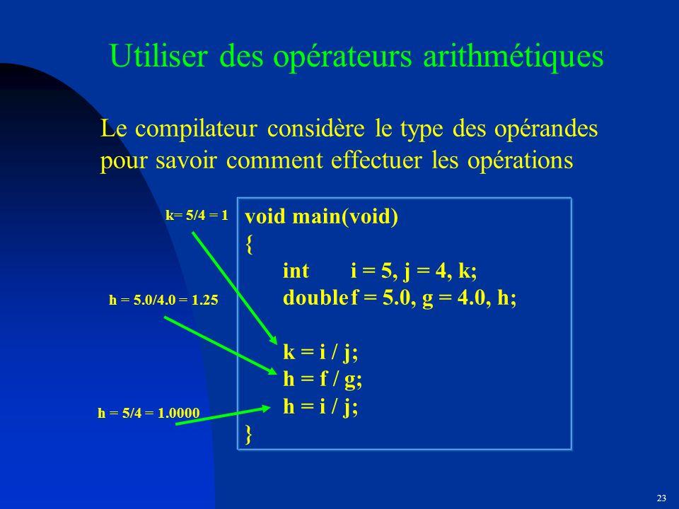 Utiliser des opérateurs arithmétiques