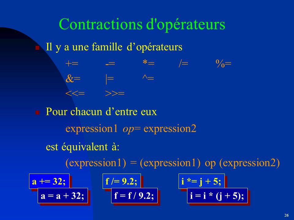 Contractions d opérateurs