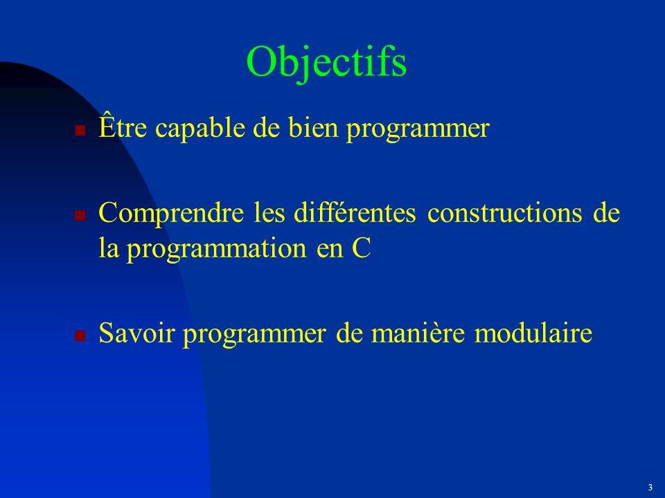Objectifs Être capable de bien programmer