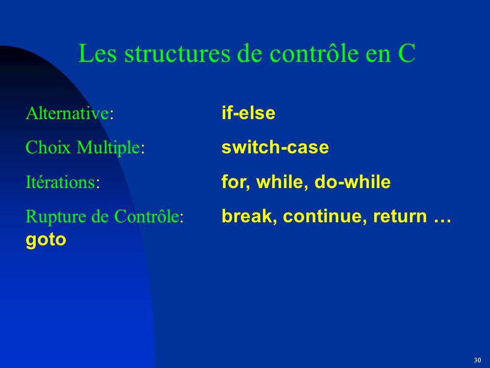 Les structures de contrôle en C