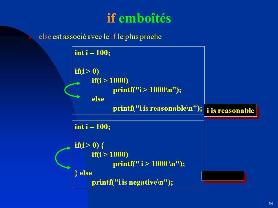 if emboîtés else est associé avec le if le plus proche int i = 100;